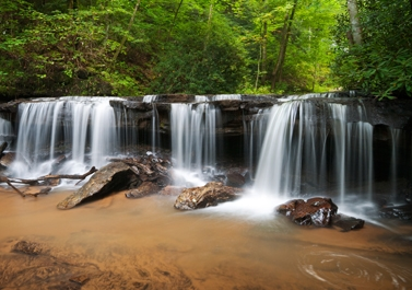 Peaceful Forest Waterfalls Landscape Flowing in Summer - Doctor Mosaraf Ali
